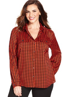 Jones New York Collection Plus Size Houndstooth-Print Utility Shirt