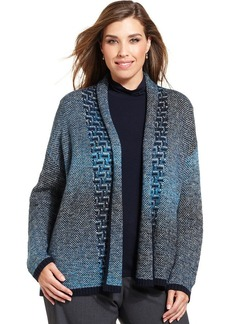 Jones New York Collection Plus Size Patterned-Knit Cardigan