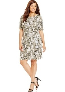 Jones New York Collection Plus Size Printed Faux-Wrap Dress