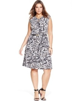 Jones New York Collection Plus Size Printed Keyhole Dress