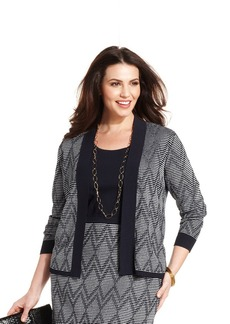 Jones New York Collection Plus Size Printed Open-Front Cardigan