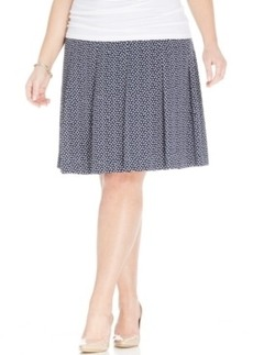 Jones New York Collection Plus Size Printed Pleated A-Line Skirt