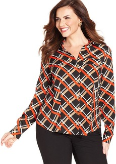 Jones New York Collection Plus Size Printed Utility Shirt