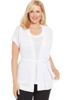Jones New York Collection Plus Size Short-Sleeve Belted Cardigan