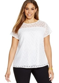 Jones New York Collection Plus Size Short-Sleeve Lace Top