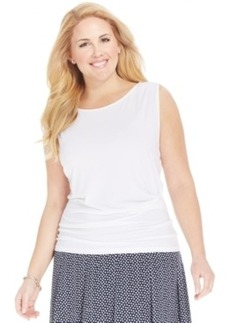 Jones New York Collection Plus Size Sleevelees Ruched Top