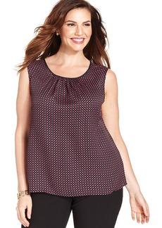 Jones New York Collection Plus Size Sleeveless Dot-Print Top