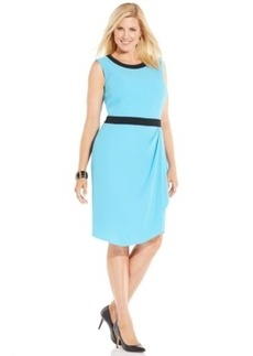 Jones New York Collection Plus Size Sleeveless Faux-Wrap Dress