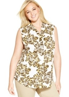 Jones New York Collection Plus Size Sleeveless Floral-Print Button-Down Shirt