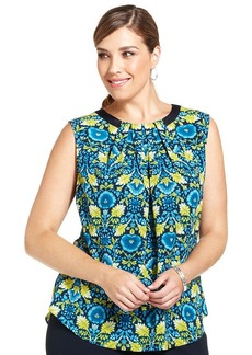 Jones New York Collection Plus Size Sleeveless Floral-Print Top