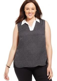 Jones New York Collection Plus Size Sleeveless Polka-Dot Blouse