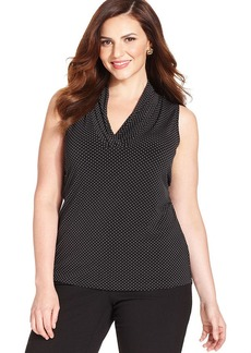 Jones New York Collection Plus Size Sleeveless Polka-Dot Top
