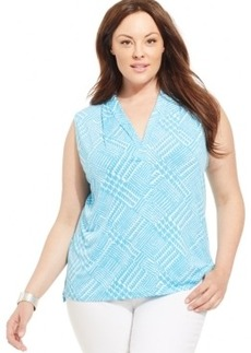 Jones New York Collection Plus Size Sleeveless Printed Top