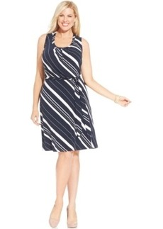 Jones New York Collection Plus Size Striped A-Line Dress