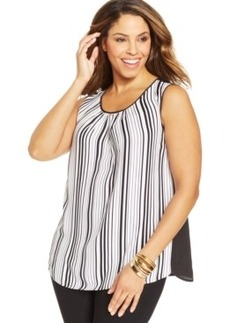 Jones New York Collection Plus Size Striped Shell