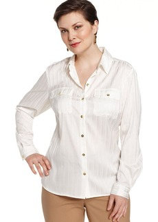 Jones New York Collection Plus Size Striped Utility Shirt