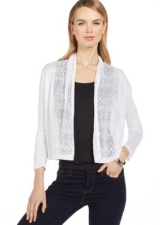 Jones New York Collection Pointelle-Trim Open Cardigan