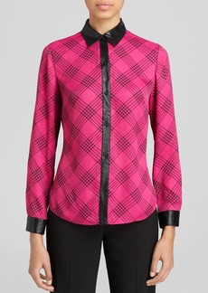 Jones New York Collection Taylor Faux Leather Trim Blouse