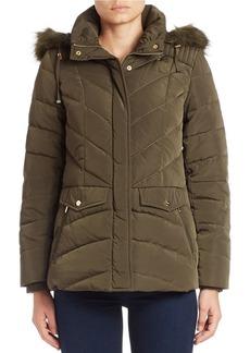 JONES NEW YORK Convertible Faux Fur-Trimmed Puffer Coat