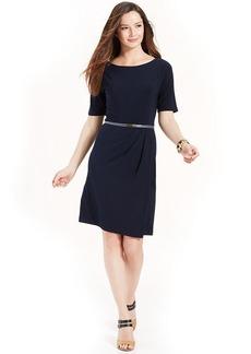 Jones New York Dolman-Sleeve Belted Pleated Dress
