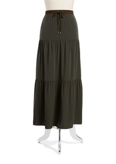 JONES NEW YORK Drawstring Tiered Maxi Skirt