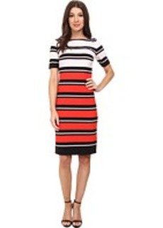 Jones New York Elbow Sleeve Boat Neck Dress