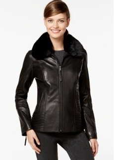 Jones New York Faux-Fur-Collar Leather Jacket