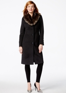 Jones New York Faux-Fur-Collar Maxi Walker Coat