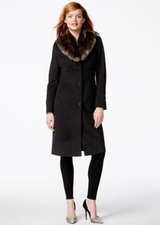 Jones New York Faux-Fur-Collar Maxi Walker Coat