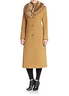 JONES NEW YORK Faux Fur-Collared Coat