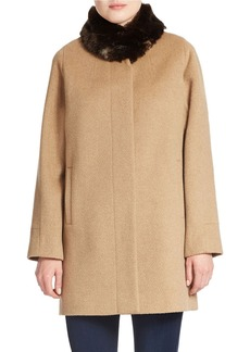 JONES NEW YORK Faux Fur-Collared Wool-Blend Coat