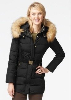 Jones New York Faux-Fur-Hood Down Belted Jacket