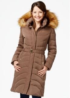 Jones New York Faux-Fur-Hood Down Belted Puffer Coat