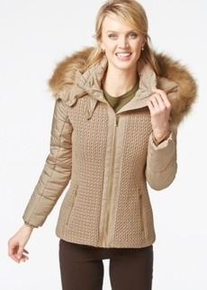 Jones New York Faux-Fur-Hood Quilted Knit Jacket