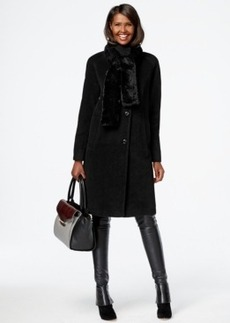 Jones New York Faux-Fur-Scarf Walker Coat