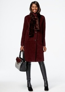 Jones New York Faux-Fur-Scarf Walker Coat with Removable Scarf