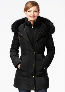 Jones New York Faux-Fur-Trim Down Coat