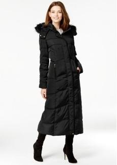 Jones New York Faux-Fur-Trim Quilted Maxi Coat