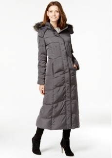 Jones New York Faux-Fur-Trim Quilted Maxi Coat