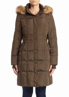 JONES NEW YORK Faux Fur-Trimmed Coat