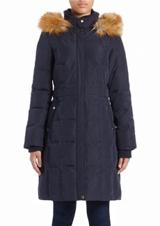 JONES NEW YORK Faux Fur-Trimmed Coat