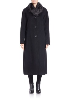 JONES NEW YORK Faux Fur-Trimmed Long Wool Coat
