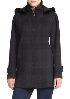 JONES NEW YORK Faux Fur-Trimmed Plaid Coat