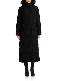 JONES NEW YORK Faux Fur-Trimmed Quilted Maxi Coat