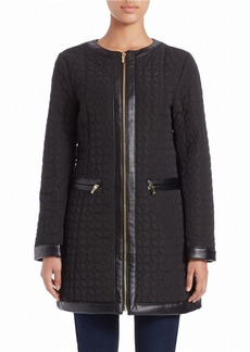 JONES NEW YORK Faux Leather-Trim Quilted Coat