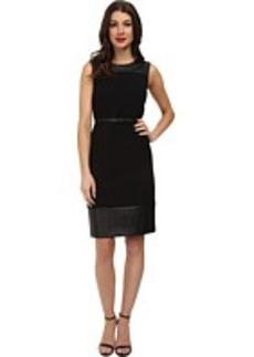 Jones New York Faux Leather Trim Sheath Dress