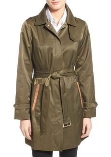 Jones New York Faux Suede Trim Trench Coat