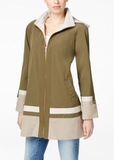 Jones New York Hooded Water-Resistant Colorblocked Coat