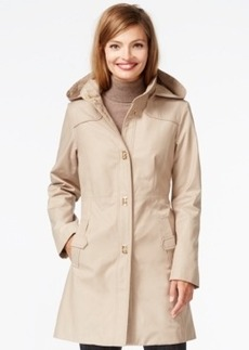 Jones New York Hooded Turn-Lock Raincoat