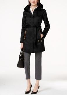 Jones New York Hooded Water-Resistant Belted Trench Coat
